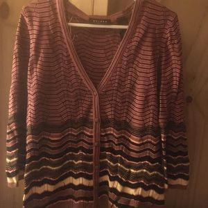 Axcess Stripped Button Up Cardigan